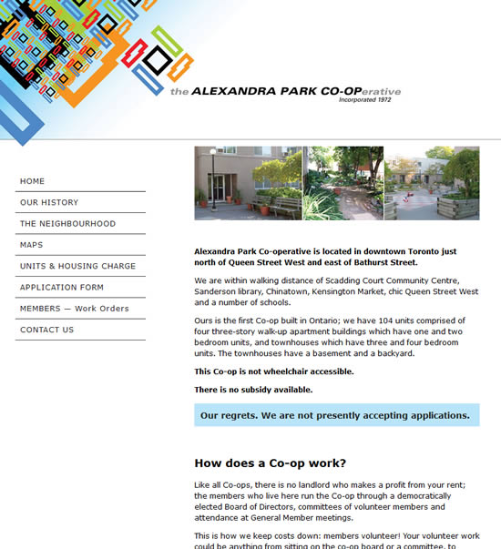 Alexandra Park Co-op website
