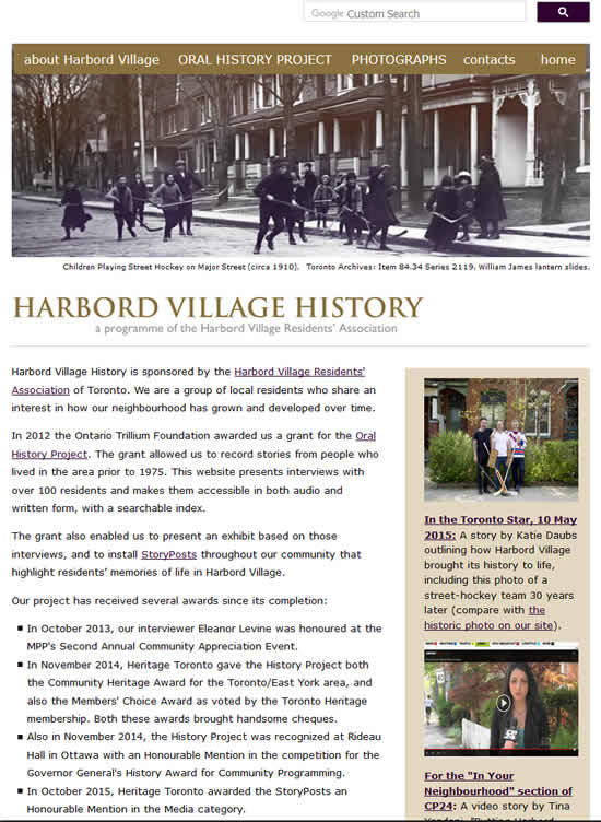 Harbord Village History website