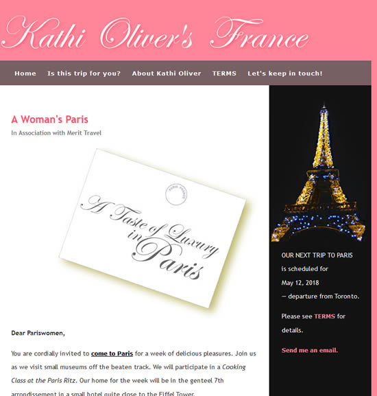Kathi Oliver's France website
