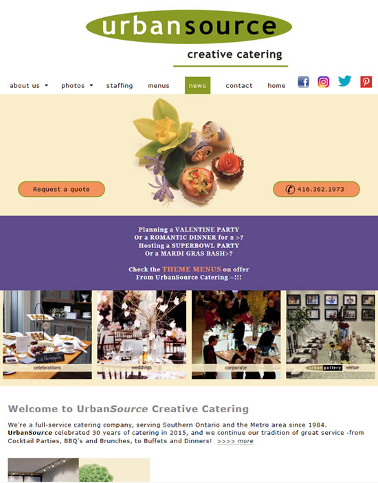 Urban Source Creative Catering website